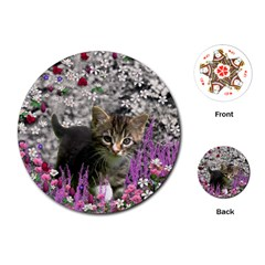 Emma In Flowers I, Little Gray Tabby Kitty Cat Playing Cards (round)  by DianeClancy