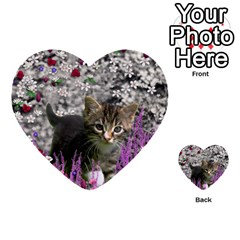 Emma In Flowers I, Little Gray Tabby Kitty Cat Multi Purpose Cards (heart)  by DianeClancy