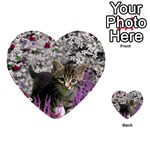 Emma In Flowers I, Little Gray Tabby Kitty Cat Multi-purpose Cards (Heart)  Front 1