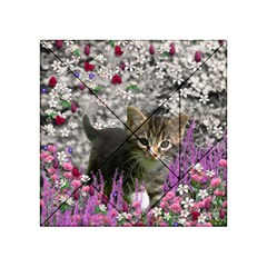 Emma In Flowers I, Little Gray Tabby Kitty Cat Acrylic Tangram Puzzle (4  X 4 ) by DianeClancy