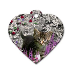 Emma In Flowers I, Little Gray Tabby Kitty Cat Dog Tag Heart (one Side) by DianeClancy