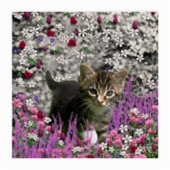 Emma In Flowers I, Little Gray Tabby Kitty Cat Medium Glasses Cloth (2 Side) by DianeClancy