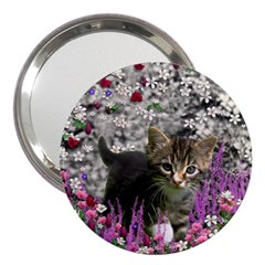 Emma In Flowers I, Little Gray Tabby Kitty Cat 3  Handbag Mirrors by DianeClancy