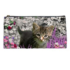 Emma In Flowers I, Little Gray Tabby Kitty Cat Pencil Cases by DianeClancy