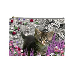 Emma In Flowers I, Little Gray Tabby Kitty Cat Cosmetic Bag (large)  by DianeClancy