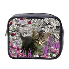 Emma In Flowers I, Little Gray Tabby Kitty Cat Mini Toiletries Bag 2 Side by DianeClancy