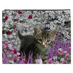 Emma In Flowers I, Little Gray Tabby Kitty Cat Cosmetic Bag (xxxl)  by DianeClancy