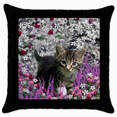 Emma In Flowers I, Little Gray Tabby Kitty Cat Throw Pillow Case (black) by DianeClancy