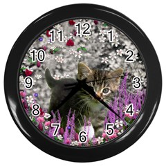 Emma In Flowers I, Little Gray Tabby Kitty Cat Wall Clocks (black) by DianeClancy