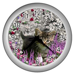 Emma In Flowers I, Little Gray Tabby Kitty Cat Wall Clocks (silver)  by DianeClancy