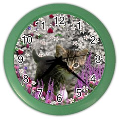 Emma In Flowers I, Little Gray Tabby Kitty Cat Color Wall Clocks by DianeClancy