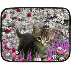 Emma In Flowers I, Little Gray Tabby Kitty Cat Double Sided Fleece Blanket (mini)  by DianeClancy