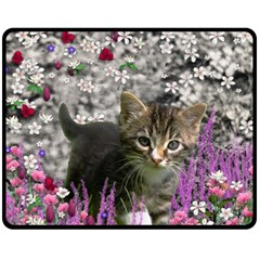 Emma In Flowers I, Little Gray Tabby Kitty Cat Fleece Blanket (medium)  by DianeClancy