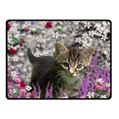 Emma In Flowers I, Little Gray Tabby Kitty Cat Fleece Blanket (small) by DianeClancy
