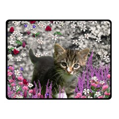 Emma In Flowers I, Little Gray Tabby Kitty Cat Double Sided Fleece Blanket (small)  by DianeClancy