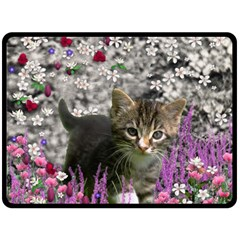 Emma In Flowers I, Little Gray Tabby Kitty Cat Double Sided Fleece Blanket (large)  by DianeClancy