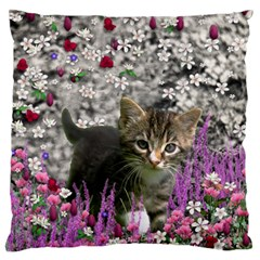 Emma In Flowers I, Little Gray Tabby Kitty Cat Large Flano Cushion Case (two Sides) by DianeClancy