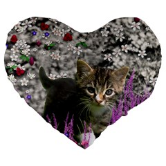 Emma In Flowers I, Little Gray Tabby Kitty Cat Large 19  Premium Flano Heart Shape Cushions by DianeClancy