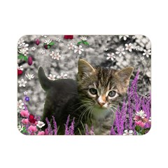 Emma In Flowers I, Little Gray Tabby Kitty Cat Double Sided Flano Blanket (mini)  by DianeClancy