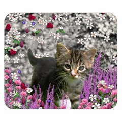 Emma In Flowers I, Little Gray Tabby Kitty Cat Double Sided Flano Blanket (small)  by DianeClancy