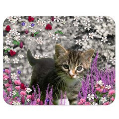Emma In Flowers I, Little Gray Tabby Kitty Cat Double Sided Flano Blanket (medium)  by DianeClancy