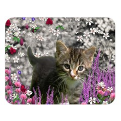 Emma In Flowers I, Little Gray Tabby Kitty Cat Double Sided Flano Blanket (large)  by DianeClancy