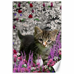 Emma In Flowers I, Little Gray Tabby Kitty Cat Canvas 12  X 18   by DianeClancy