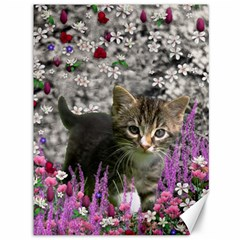 Emma In Flowers I, Little Gray Tabby Kitty Cat Canvas 36  X 48   by DianeClancy