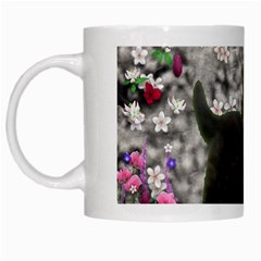 Emma In Flowers I, Little Gray Tabby Kitty Cat White Mugs by DianeClancy
