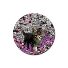 Emma In Flowers I, Little Gray Tabby Kitty Cat Rubber Coaster (round)  by DianeClancy