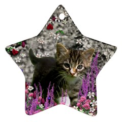 Emma In Flowers I, Little Gray Tabby Kitty Cat Ornament (star)  by DianeClancy