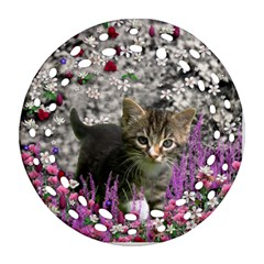 Emma In Flowers I, Little Gray Tabby Kitty Cat Round Filigree Ornament (2side) by DianeClancy