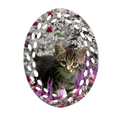 Emma In Flowers I, Little Gray Tabby Kitty Cat Oval Filigree Ornament (2 Side)  by DianeClancy
