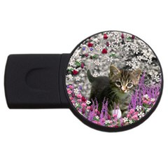 Emma In Flowers I, Little Gray Tabby Kitty Cat USB Flash Drive Round (1 GB)  by DianeClancy