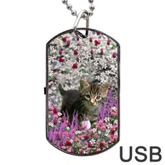 Emma In Flowers I, Little Gray Tabby Kitty Cat Dog Tag Usb Flash (two Sides)  by DianeClancy