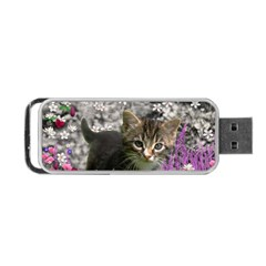 Emma In Flowers I, Little Gray Tabby Kitty Cat Portable Usb Flash (two Sides) by DianeClancy