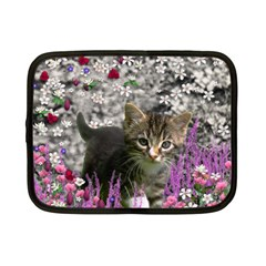 Emma In Flowers I, Little Gray Tabby Kitty Cat Netbook Case (small)  by DianeClancy