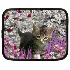 Emma In Flowers I, Little Gray Tabby Kitty Cat Netbook Case (xl)  by DianeClancy