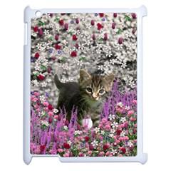 Emma In Flowers I, Little Gray Tabby Kitty Cat Apple Ipad 2 Case (white) by DianeClancy