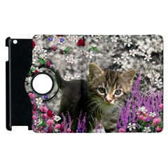 Emma In Flowers I, Little Gray Tabby Kitty Cat Apple Ipad 3/4 Flip 360 Case by DianeClancy