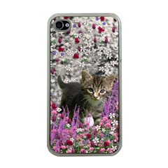 Emma In Flowers I, Little Gray Tabby Kitty Cat Apple Iphone 4 Case (clear) by DianeClancy