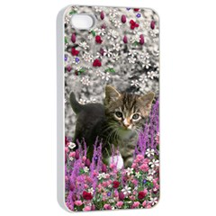 Emma In Flowers I, Little Gray Tabby Kitty Cat Apple Iphone 4/4s Seamless Case (white) by DianeClancy