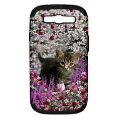 Emma In Flowers I, Little Gray Tabby Kitty Cat Samsung Galaxy S Iii Hardshell Case (pc+silicone) by DianeClancy
