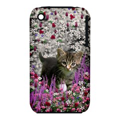 Emma In Flowers I, Little Gray Tabby Kitty Cat Apple Iphone 3g/3gs Hardshell Case (pc+silicone) by DianeClancy