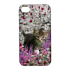 Emma In Flowers I, Little Gray Tabby Kitty Cat Apple Iphone 4/4s Hardshell Case With Stand by DianeClancy