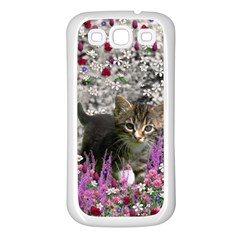 Emma In Flowers I, Little Gray Tabby Kitty Cat Samsung Galaxy S3 Back Case (white) by DianeClancy