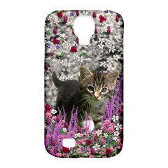 Emma In Flowers I, Little Gray Tabby Kitty Cat Samsung Galaxy S4 Classic Hardshell Case (pc+silicone) by DianeClancy