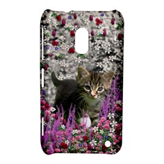 Emma In Flowers I, Little Gray Tabby Kitty Cat Nokia Lumia 620 by DianeClancy