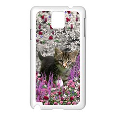 Emma In Flowers I, Little Gray Tabby Kitty Cat Samsung Galaxy Note 3 N9005 Case (white) by DianeClancy
