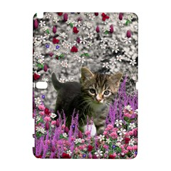 Emma In Flowers I, Little Gray Tabby Kitty Cat Samsung Galaxy Note 10 1 (p600) Hardshell Case by DianeClancy